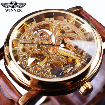 Winner Transparent Ultra Gold Luxury Case Skeleton Watch