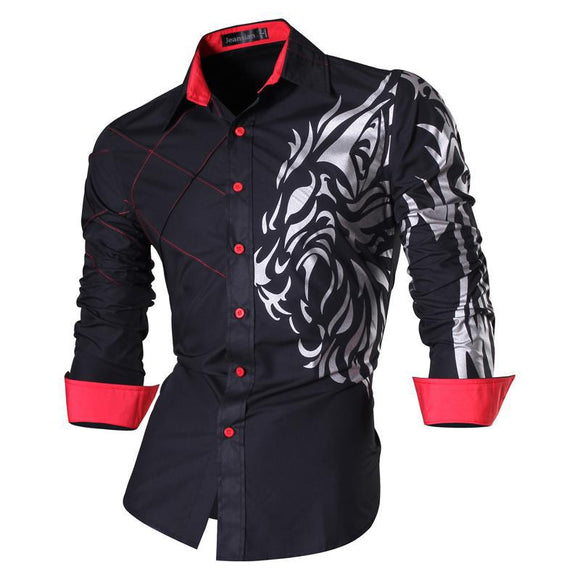 Mens Long Sleeve Casual Lion Slim Fit Shirts-Bachelor Barn