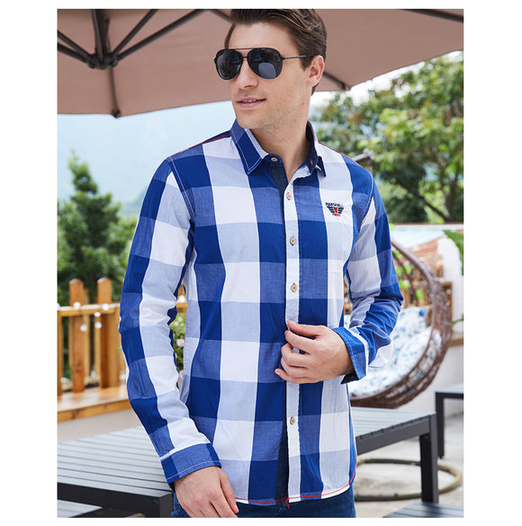 Sport Plaid Shirt 100% Cotton Bachelor Barn