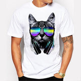 2017 Fashion short music DJ cat printed Funny t-shirt men tops-Bachelor Barn