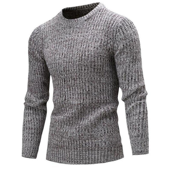 Male O-Neck Solid Slim Fit Knitted Mens Sweater-Bachelor Barn