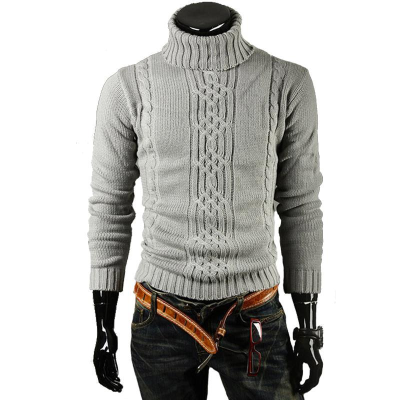 Mens High Lapel Jacquard Hedging Sweater-Bachelor Barn