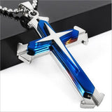 Men's Metal cross with chain - Black or Blue Options