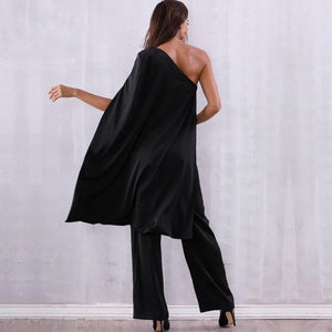Drea One-Shoulder Cape Jumpsuit