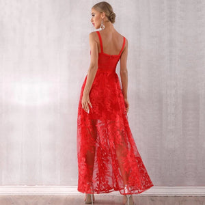 Noemi Red Lace Evening Dress