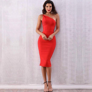 Natalie One Shoulder Red Bandage Dress