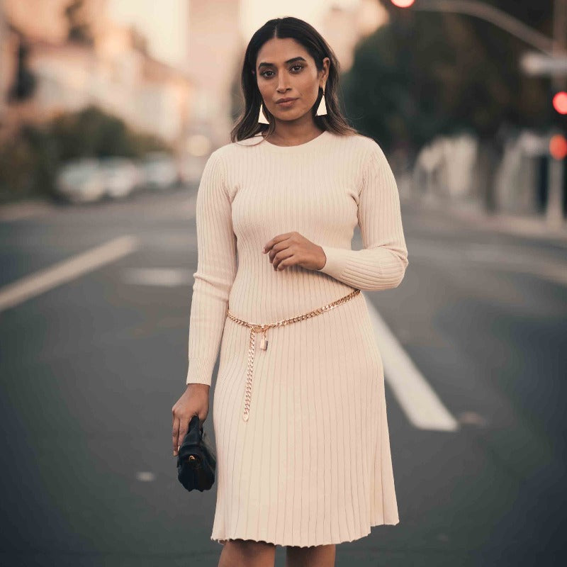 Candace Ribbed Sweater Dress