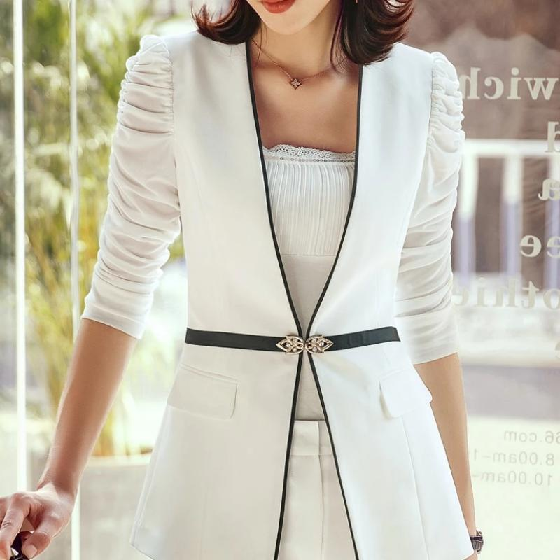 Giselle Mesh Ruched Sleeve Blazer
