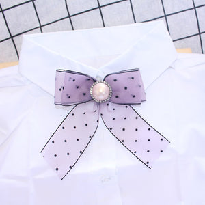 Purple Polka Bow Brooch