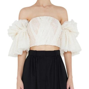 Mila Bardot Embroidered Crop Top