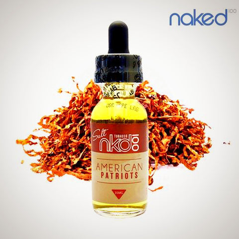 American Patriots by Naked 100 Salt eLiquid 30ml, Nicotine Salt eLiquid,  Naked 100,- Lone Star Vapors