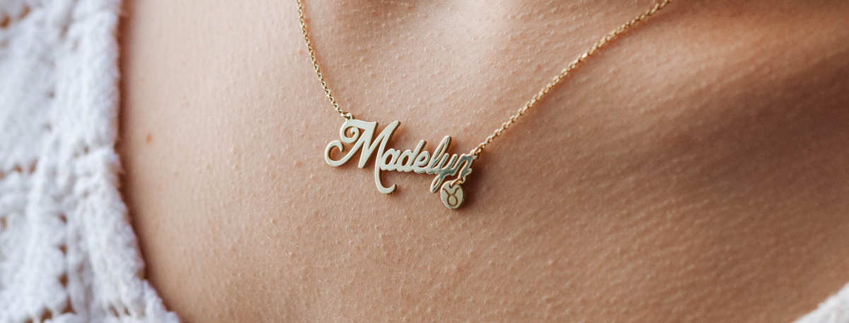 Name necklace with zodiac sign