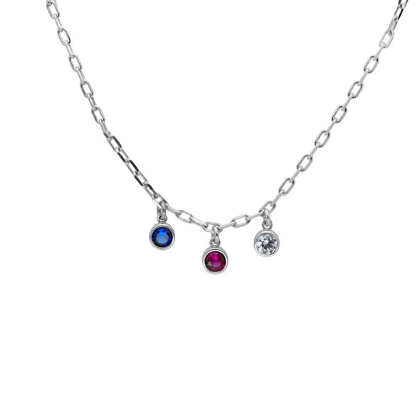 A sterling silver necklace with three birthstones dangling from it