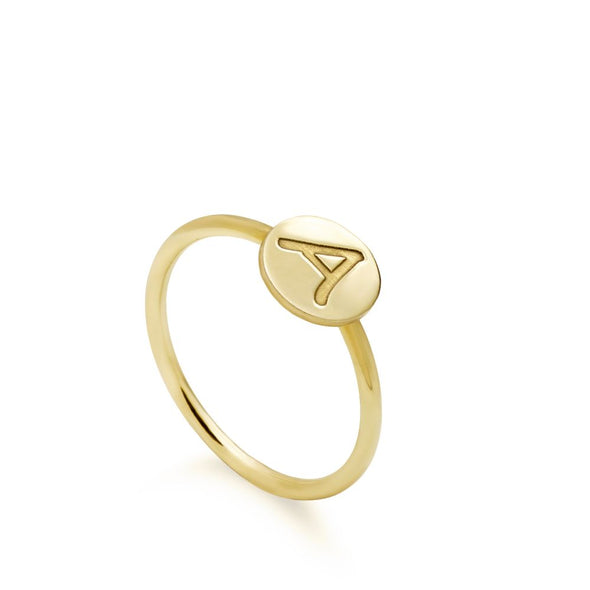 Gold Ring with Initial on Disc