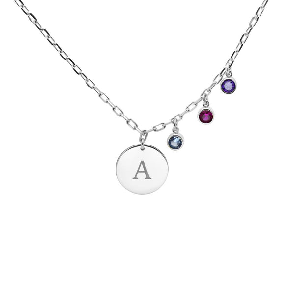 Initial Birthstone Disc Necklace in Silver