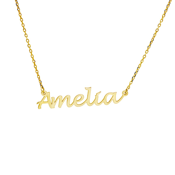 A personalized dainty name necklace in gold