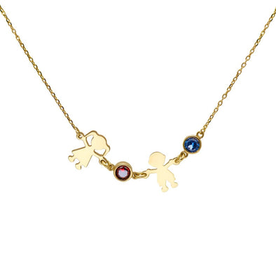 Family Kids Necklace with Birthstones