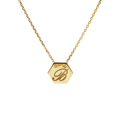 Hexagon Initial Necklace 14K Gold