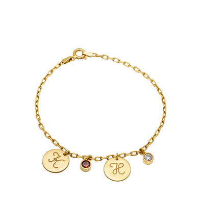 Custom Birthstone Disc Bracelet Gold