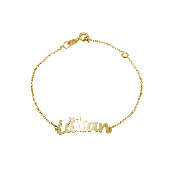 14K gold personalized bracelet with the name Lillian