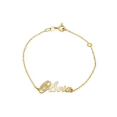 Name bracelete Gold plated Calligraphic Font