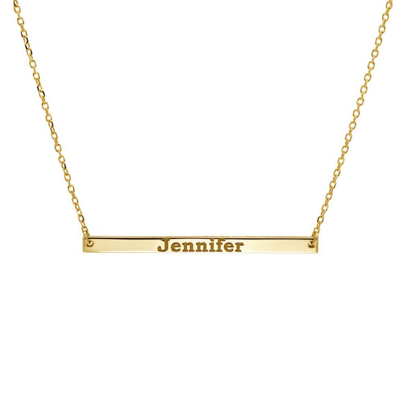 Narrow Name Bar Necklace 14K Gold