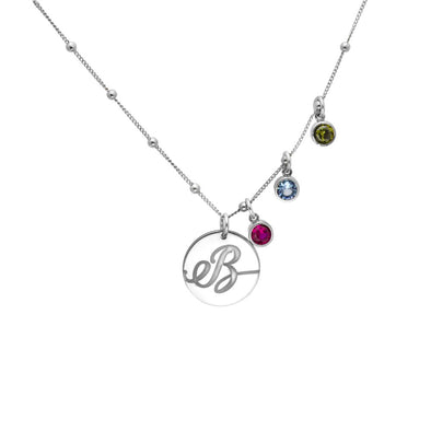 Monogram Birthstone Disc Necklace