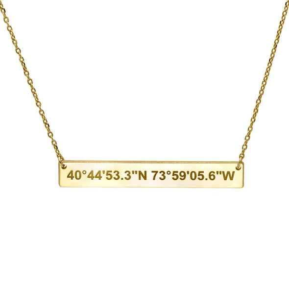 Coordinates Bar Necklace Sterling Silver