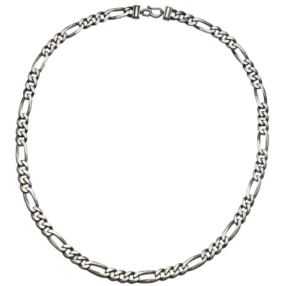 Men's Oxidized Silver Figaro Chain Necklace