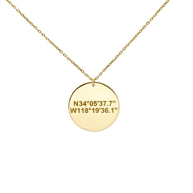 Disc Necklace with Coordinates