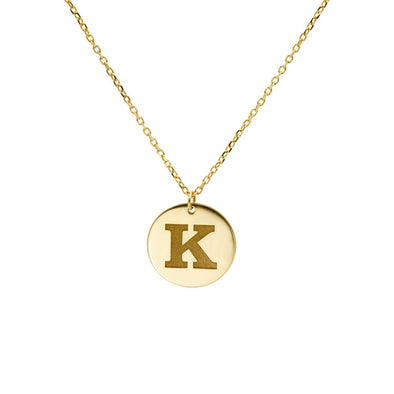 Disc Initial Necklace 14K Gold