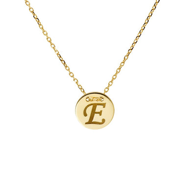 Disc Letter Necklace 14K Gold
