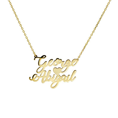 Couples Double Name Necklace with Heart