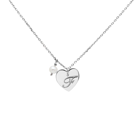 Pearl Initial Heart Necklace