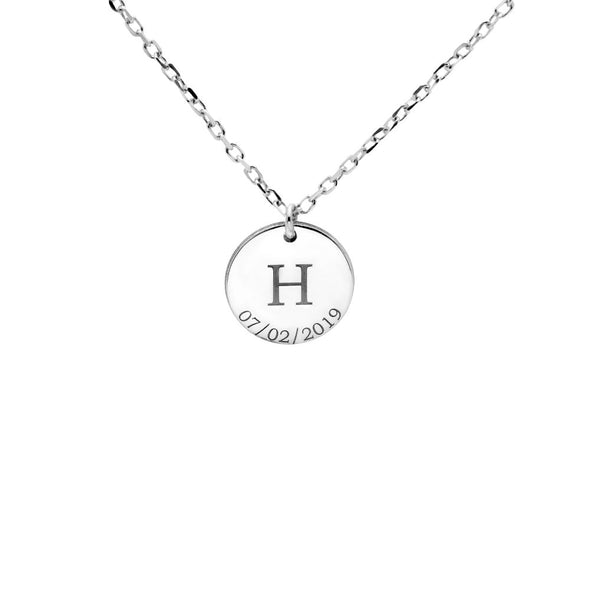 Disc Initial Date Necklace