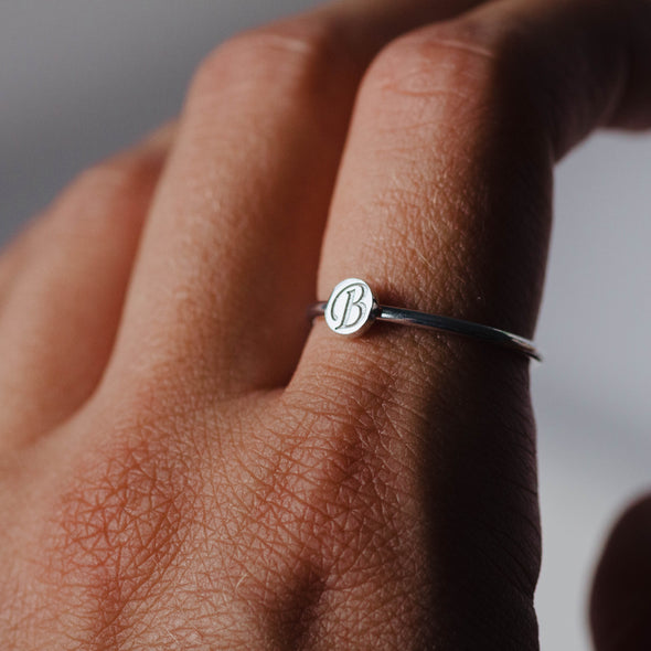 14K White Gold Letter Disc Ring
