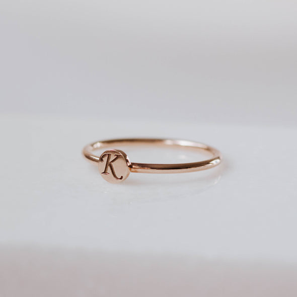 14K Rose Gold Letter Disc Ring