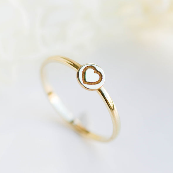 Gold Letter Disc Ring