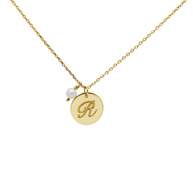 Pearl Initial Disc Necklace