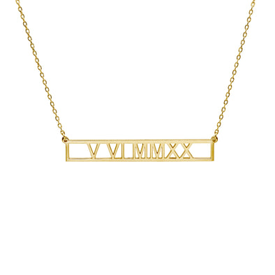 A gold roman numeral necklace