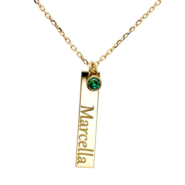 Vertical Name Bar with Birthstones in Gold Vermeil