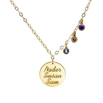 Disc Name Necklace with Birthstones