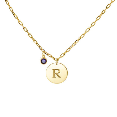 Disc Letter Birthstone Necklace
