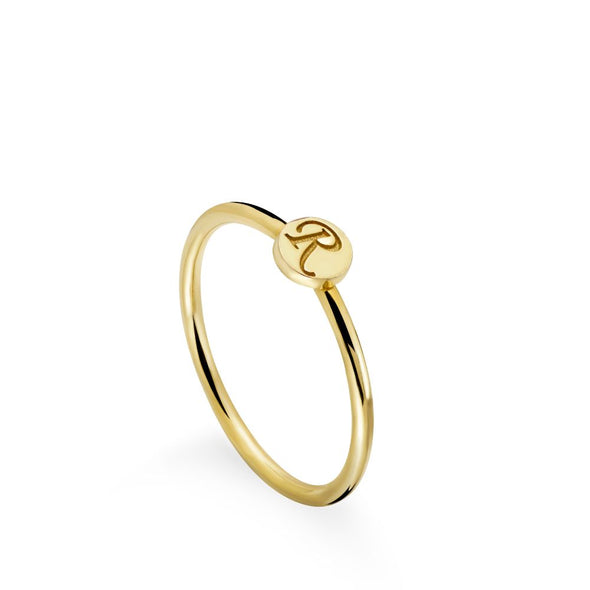 14K Gold Letter Disc Ring