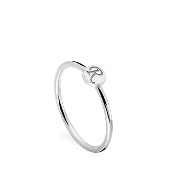 White Gold Letter Disc Ring
