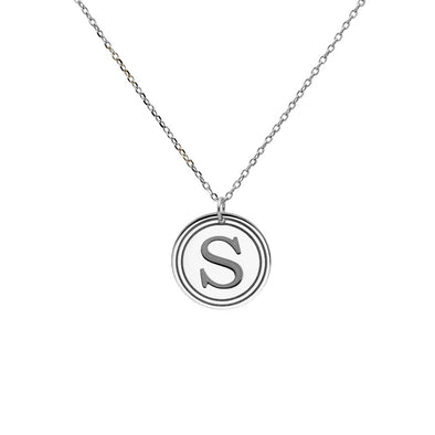 Shield Disc Initial Necklace 14K White Gold