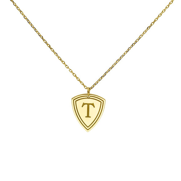 Shield Triangle Initial Necklace 14K White Gold