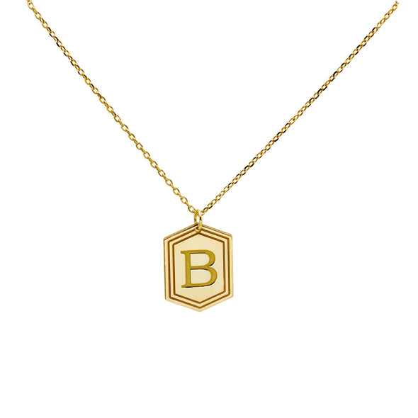 Shield Hexagon Initial Necklace