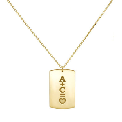 Vertical Tag Necklace Engraved