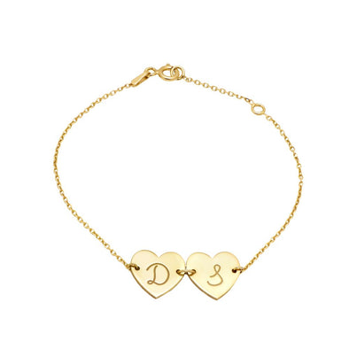 Personalized Bracelet with Hearts and Initials